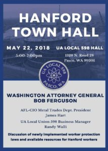 UA Local Union 598 to Host Attorney General for Hanford Town Hall Event