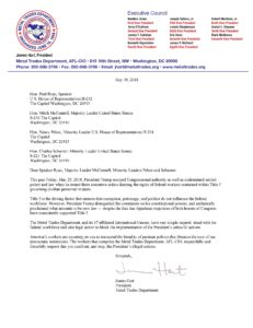 President Hart's Letter to Congress Urging Them to Block Trumps Executive Orders on the Federal Workforce