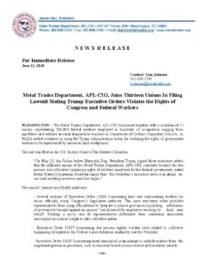 Metal Trades Department, AFL-CIO, Joins Thirteen Unions In Filing Lawsuit Stating Trump Executive Orders Violates the Rights of Congress and Federal Workers
