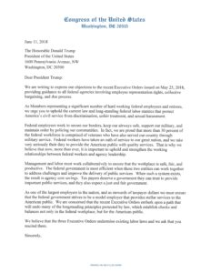 Twenty One Members of Congress Send Letter to President Trump Objecting to Recent Executive Orders