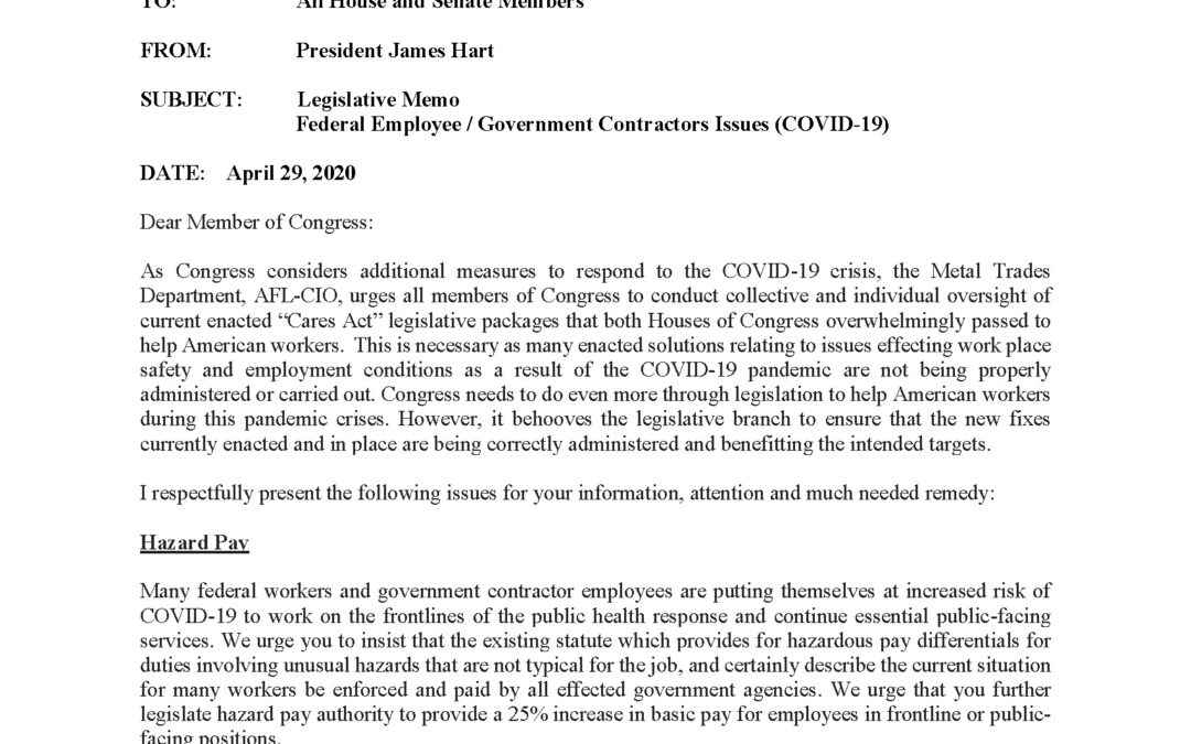 Congressional MEMO: Federal Employee / Government Contractors Issues (COVID-19)