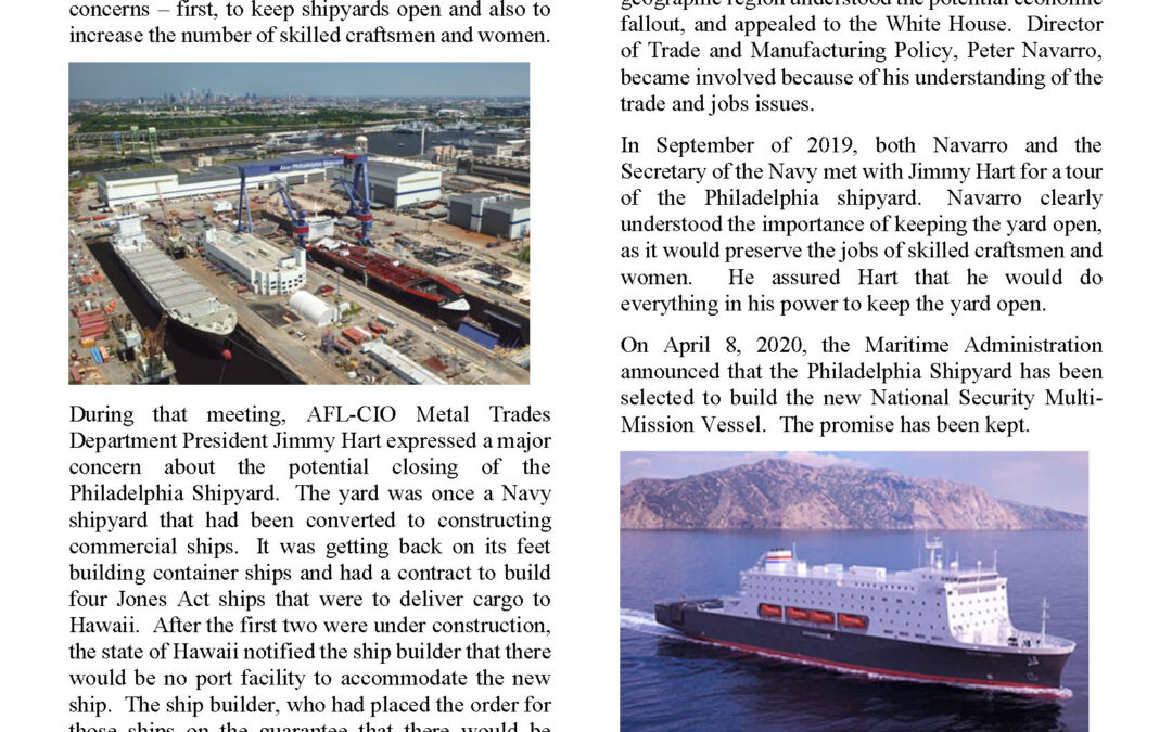 Coalition Chronicle Highlights MTD's Role in Saving Philly Shipyard
