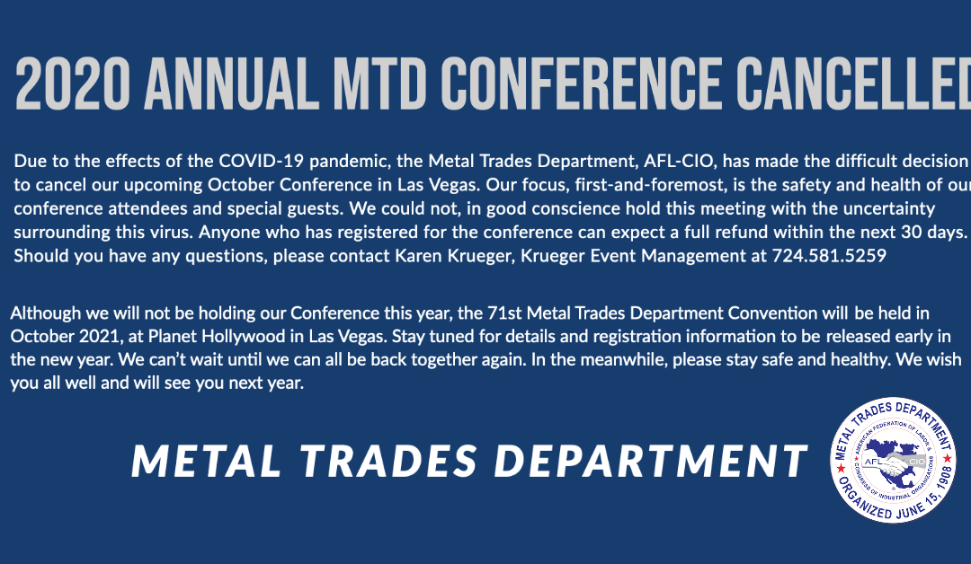 2020 Annual Metal Trades Department Conference Cancelled