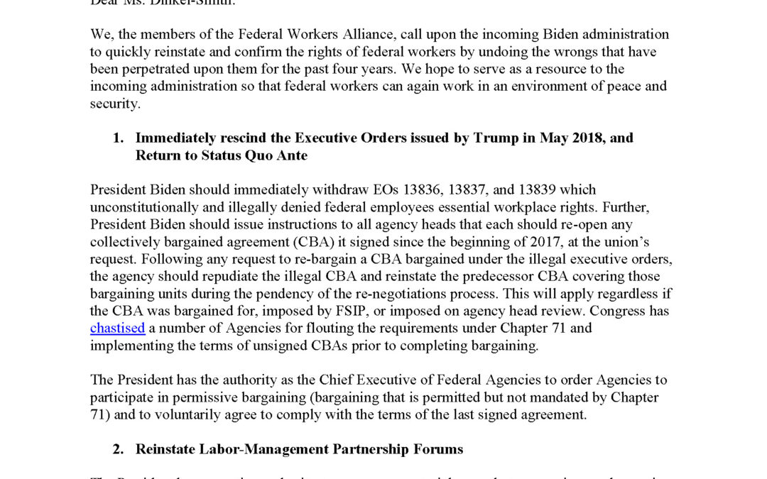 MTD Joins FWA in Asking Biden to Reinstate and Confirm Rights of Federal Workers