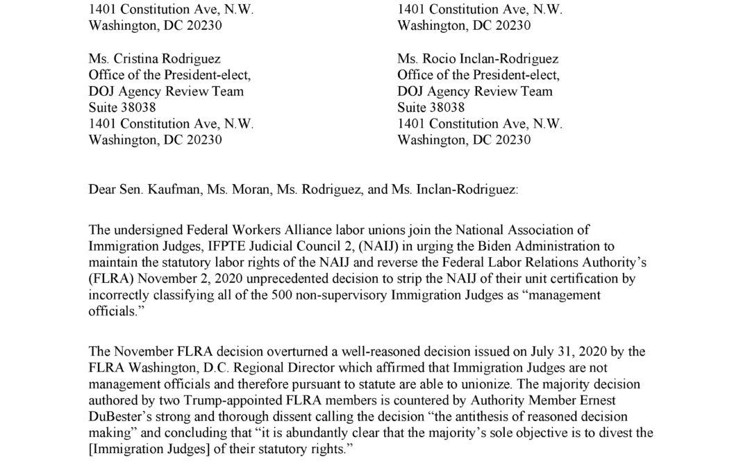 MTD Joins FWA, NAIJ in Urging Biden Administration to Maintain Statutory Labor Rights
