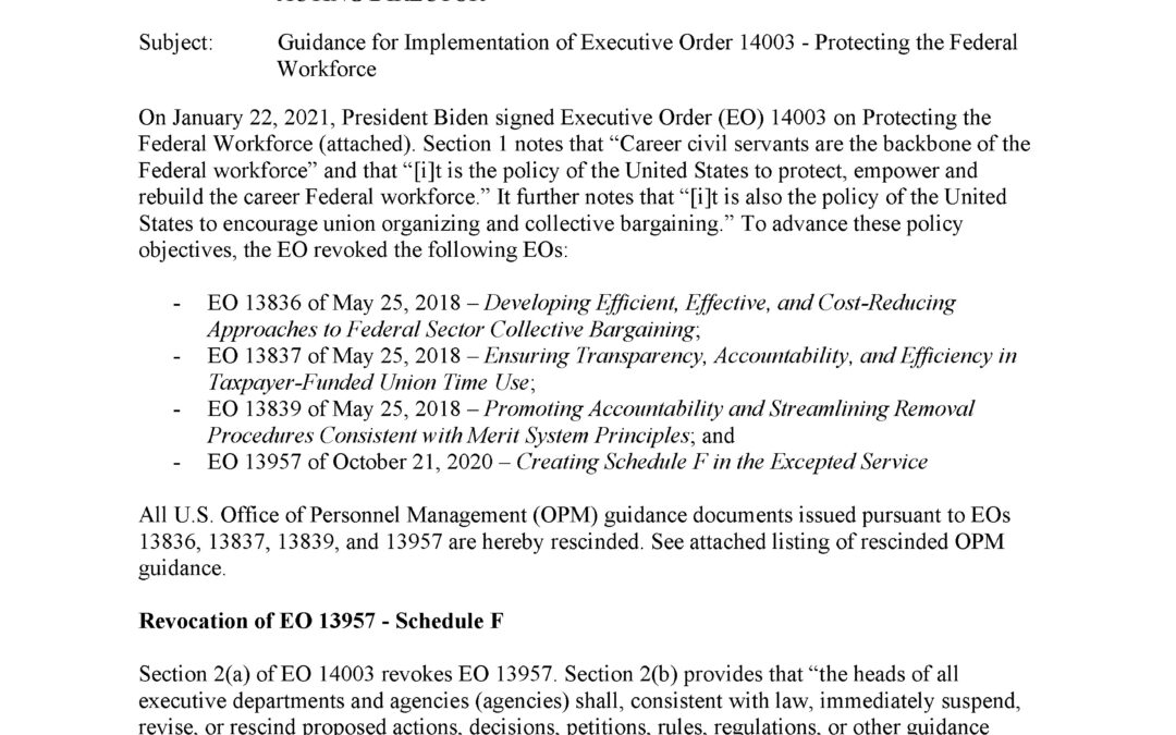 Guidance for Implementation of Executive Order 14003 – Protecting the Federal Workforce